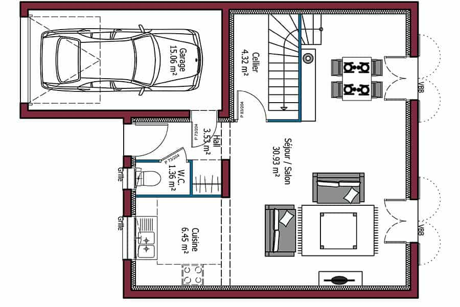 S lection de plan de maison avec 3 chambres l 39 embarras for Plan maison mca